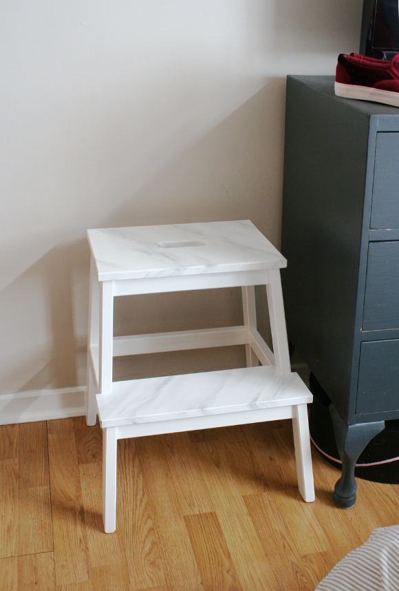 Ikea Bekvam Step Stool Gets A Faux Marble Makeover The